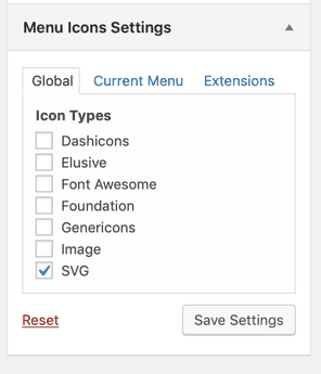 Menu Icons Settings for SVG